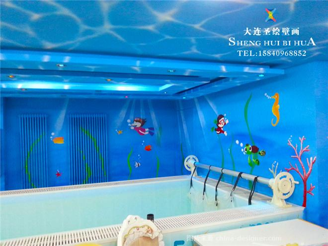 手绘墙墙体彩绘-儿童游泳馆