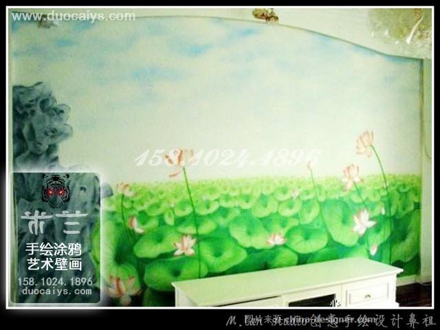 朝阳手绘墙,朝阳壁画,国画墙绘,牡丹墙绘,工笔花鸟墙绘 朝阳墙绘公司