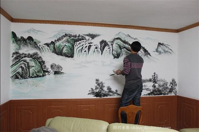 石家莊墻繪-手繪山水畫背景墻-石家莊之典墻體彩繪的