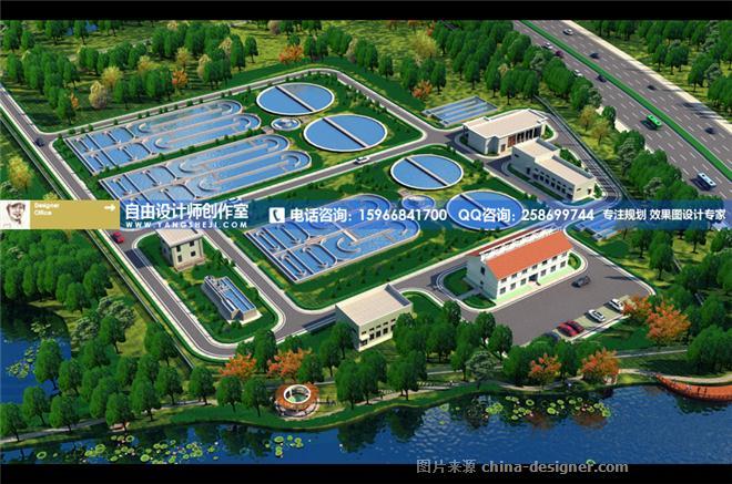 图制作收费低-自由设计师的设计师家园-厂区设计,厂区鸟瞰图,工厂厂房