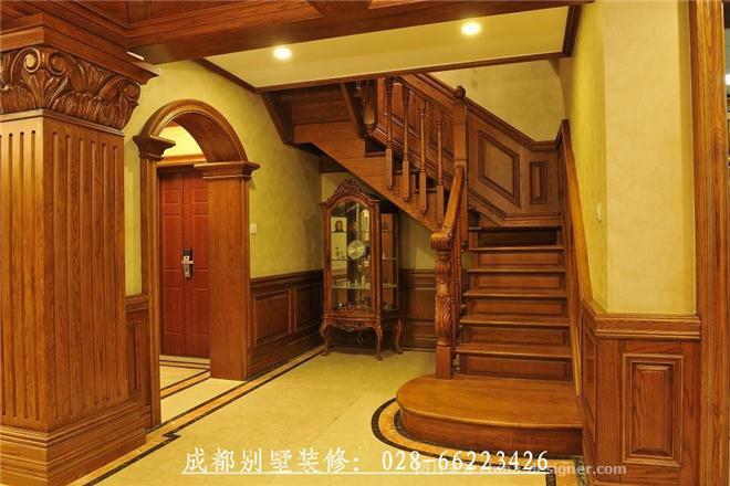 成都别墅装修公司打造康河郦景最好装修设计图片-美式风格图片,楼梯间