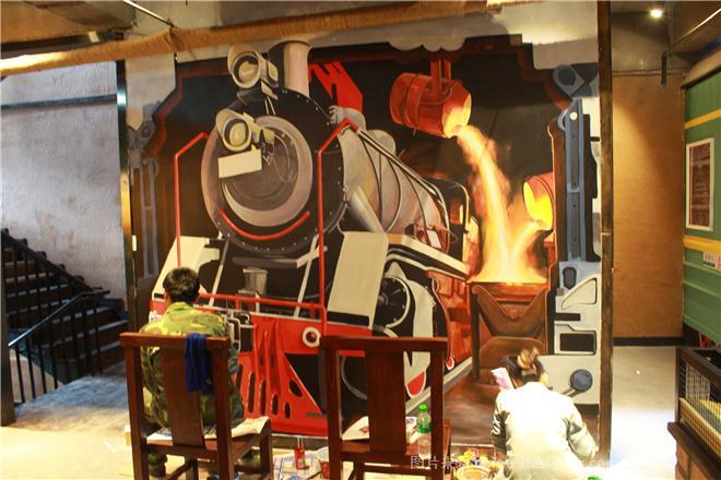火车3d立体画火车墙绘手绘墙