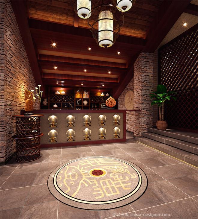 酒店大厅收银台中式装修效果图