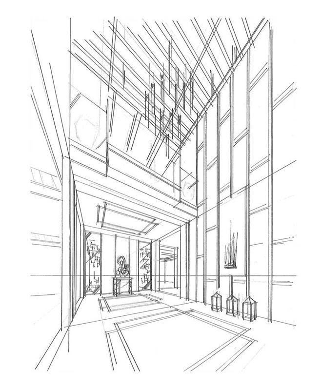 阳台走廊风景简笔画