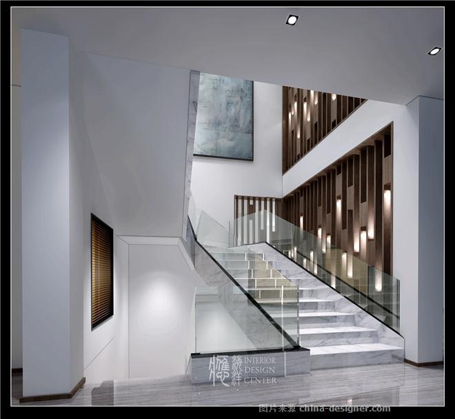 欧式别墅玄关挑空楼梯间