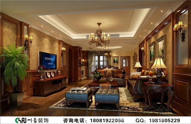 成都别墅装修美式风格效果图-四川省川豪装饰有限