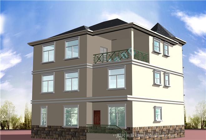 带效果图 欧式农村自建房设计 -三层别墅图纸带效果图 四合院的设计