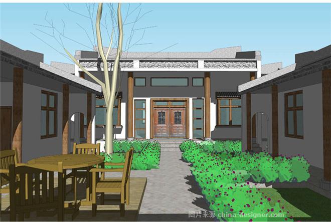 一层徽派中式四合院别墅效果图施工图纸设计-四合院的设计师家园-独栋