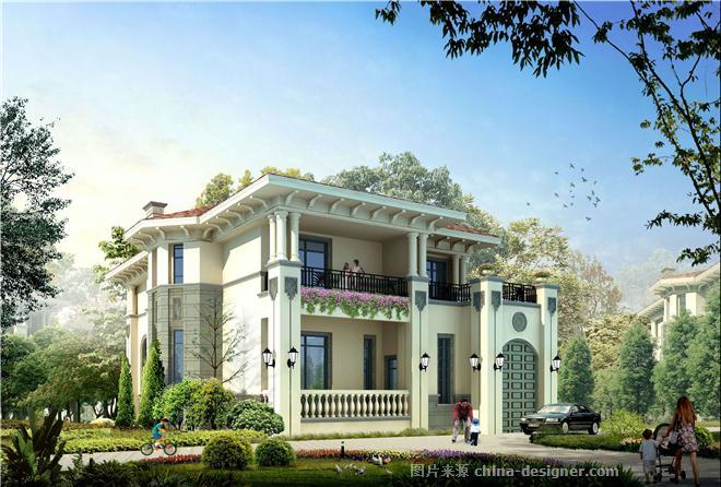 欧式二间二层别墅效果图别墅外观效果图方案-涂华梅