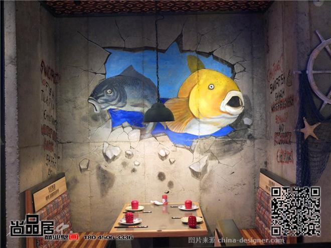 尚品居—火匠烤鱼店手绘墙画-尚品居商业壁画的设计师家园-烧烤店