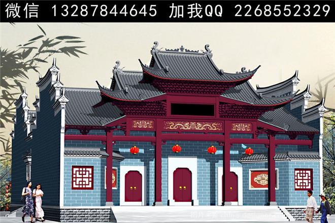 展位/展台/展览,展厅,新中式,祠堂 祖堂 宗祠 仿古建筑 门楼 马头墙