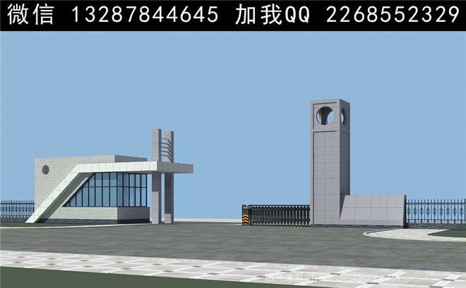 营业厅,产业园区,办公区,现代简约,小区大门 电动门 围墙 铁艺围墙 大