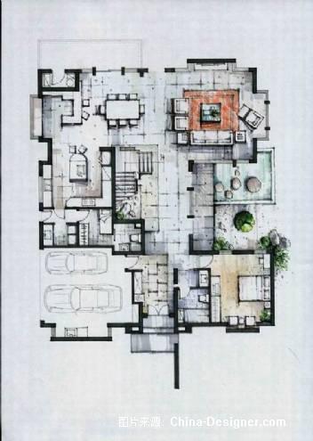 别墅设计方案手绘平面图1-李设历的设计师家园-别墅设计方案