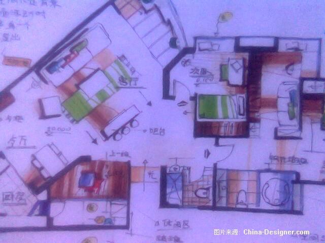 马克笔手绘平面图002-杜鑫的设计师家园-酷家