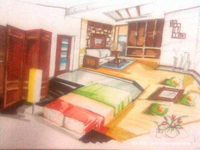马克笔手绘效果图005-杜鑫的设计师家园-中式