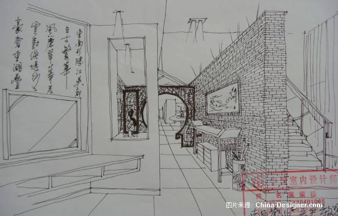 室内玄关手绘线稿