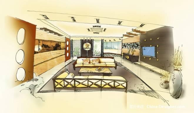 中式客厅手绘_中式客厅手绘分享展示图片