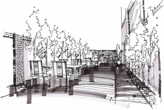 室外景观手绘线稿效果图-大写艺