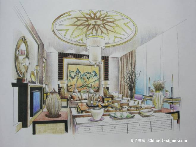 游客大厅室内手绘