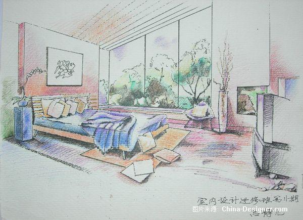 彩铅室内手绘卧室