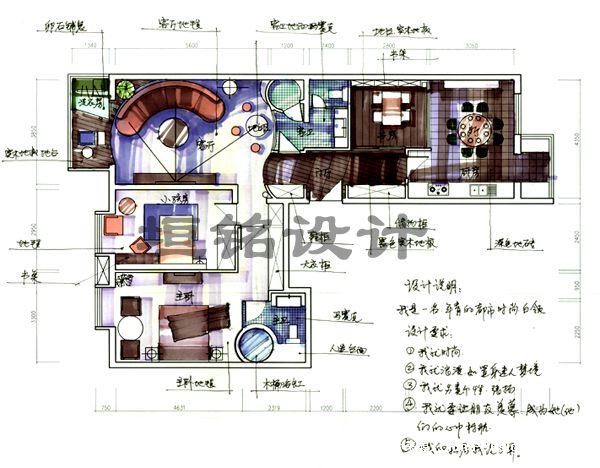 手绘平面-北京垣铭室内设计工作室的设计师家园-中式