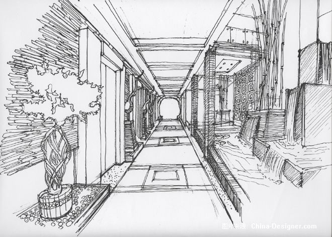 室内设计手绘图线稿加效果图