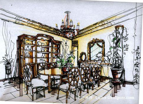 6(餐厅手绘图)-星艺装饰天津空间研究中心的设计师家园-别墅,欧式