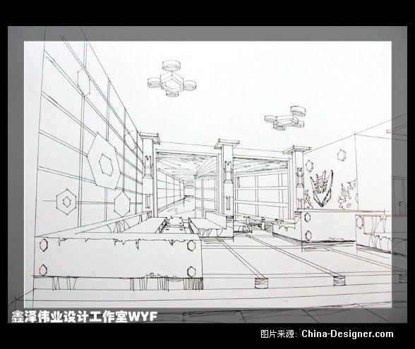 酒吧大门手绘效果图; transformers酒吧vip区线稿-鑫泽伟业设计工作室