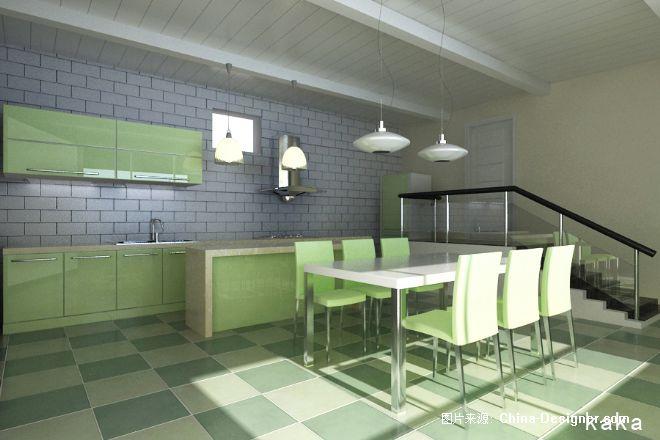 飞机场别墅大厨房-卡卡的设计师家园-绿色图片