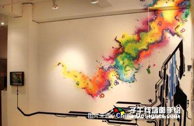 《电视背景墙手绘13》-设计师:上海子午线手绘墙画室.