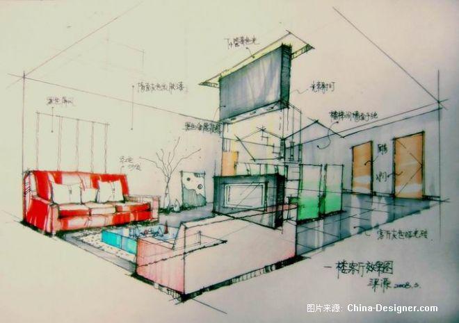 《手绘客厅透视图》-设计师:梁源