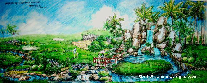 室外假山手绘效果图-原生园林的设计师家园-10-20万