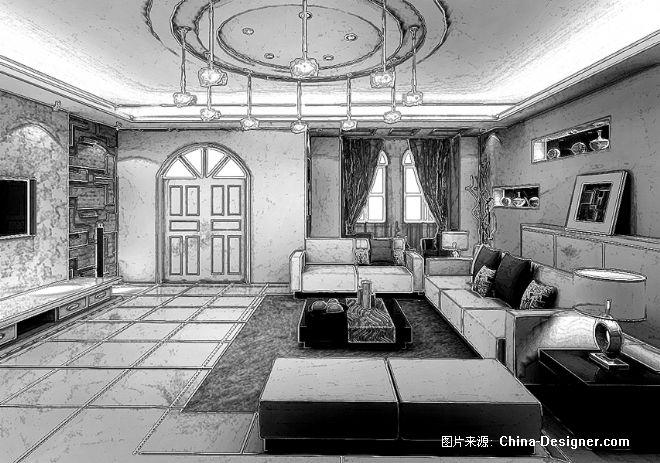 室内手绘效果灰色