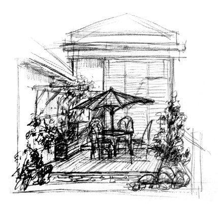 阳台设计手绘线稿分享展示