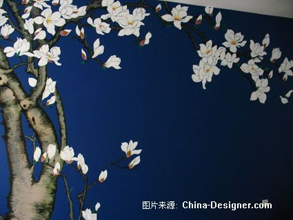 蓝色墙面手绘图片