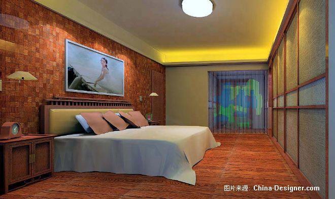 中式主人房床頭背景