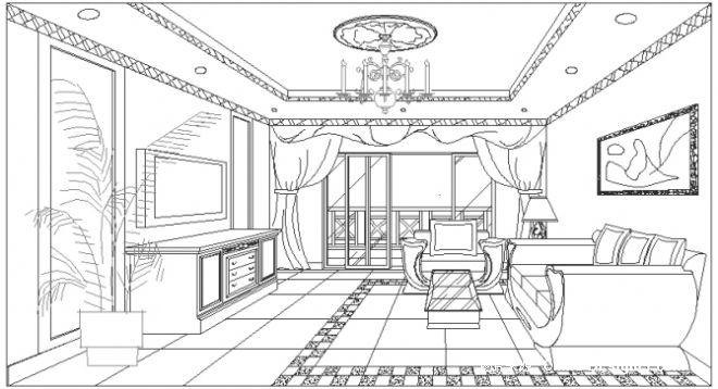 欧式客厅效果图手绘