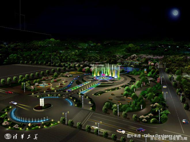 《音乐喷泉广场夜景鸟瞰》-设计师:王哲
