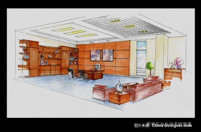 董事长办公室手绘效果-胡鲲的设计师家园-现代