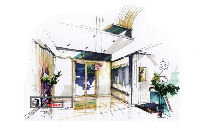 刘恒文室内设计手绘稿餐厅-刘恒文的设计师家园-20-30万,别墅,餐厅