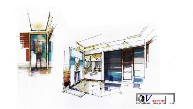 刘恒文室内设计手绘稿玄关-刘恒文的设计师家园-20