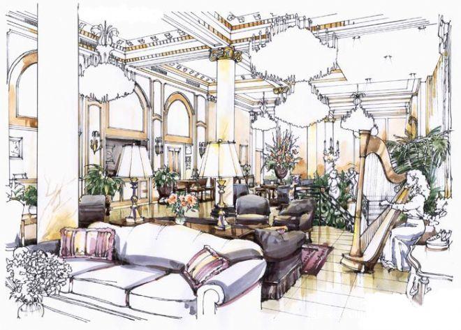 酒店大堂4着色-朱跃乾的设计师家园-现代
