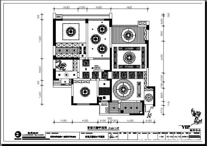四海逸家别墅--首层天棚设计平面图-祝艺的设计师家园-中式