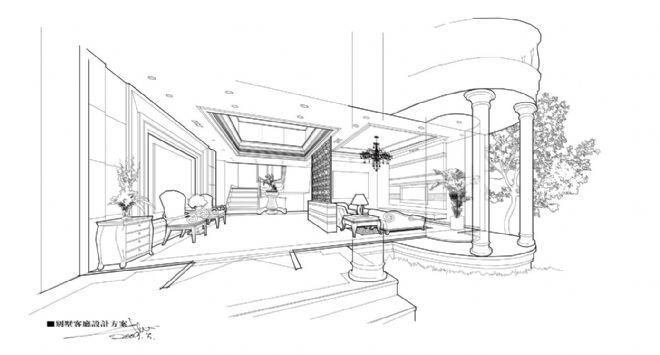 别墅线稿-陈致中的设计师家园-关键字新古典图片