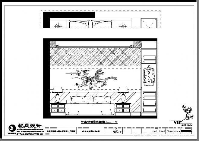 臥室(三)設計b立面圖-祝藝的設計師家園-中式