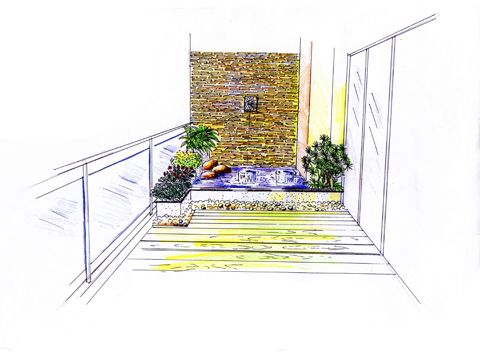阳台 手绘效果图