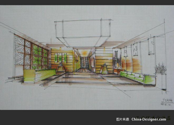 酒店大厅餐厅手绘图