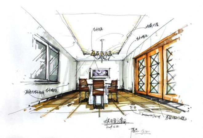 长沙桂花城-一层娱乐房透视图-欧工的设计师家园-奢华