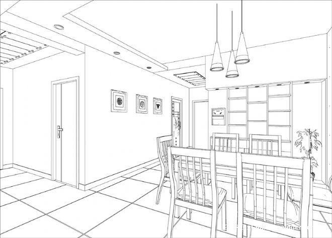 小周的餐厅手绘图01-张真伍的设计师家园-现代