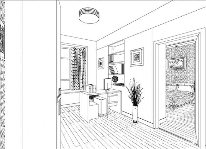 小周的卧室带书房手绘图01-张真伍的设计师家园-现代